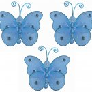 "3"""" Blue Mini Wire Bead Butterfly Butterflies 3pc set - nylon hanging ceiling wall nursery bedroom d"