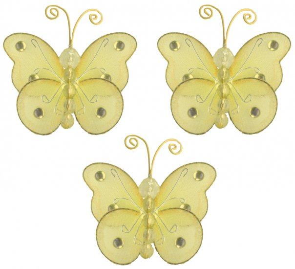 "3"""" Yellow Mini Wire Bead Butterfly Butterflies 3pc set - nylon hanging ceiling wall nursery bedroom"