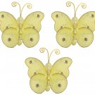 "3"""" Yellow Mini Wire Bead Butterfly Butterflies 3pc set - nylon hanging ceiling wall nursery bedroom"