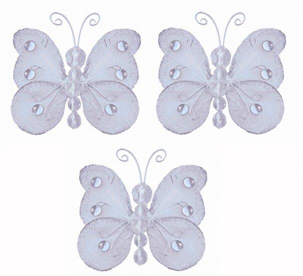 "3"""" White Mini Wire Bead Butterfly Butterflies 3pc set - nylon hanging ceiling wall nursery bedroom"
