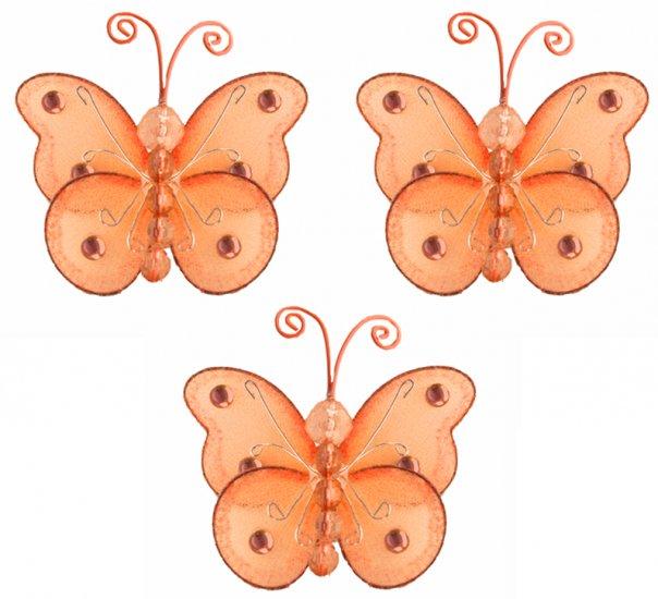 """3"""""""" Orange Mini Wire Bead Butterfly Butterflies 3pc set - nylon hanging ceiling wall nursery bedroom"""