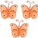 "3"""" Orange Mini Wire Bead Butterfly Butterflies 3pc set - nylon hanging ceiling wall nursery bedroom"