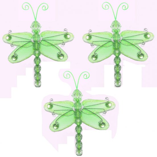 """3"""""""" Green Mini Wire Bead Dragonfly Dragonflies 3pc set - nylon hanging ceiling wall nursery bedroom"""