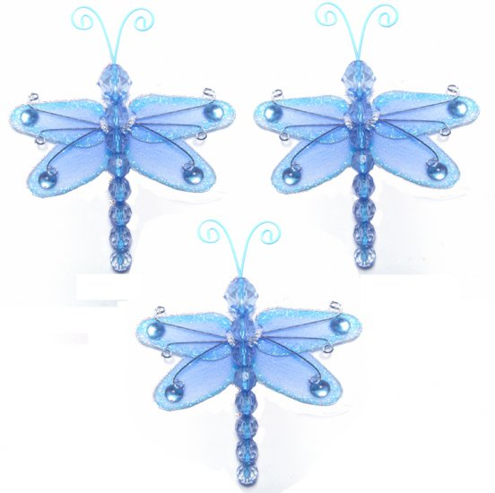 """3"""""""" Blue Mini Wire Bead Dragonfly Dragonflies 3pc set - nylon hanging ceiling wall nursery bedroom d"""