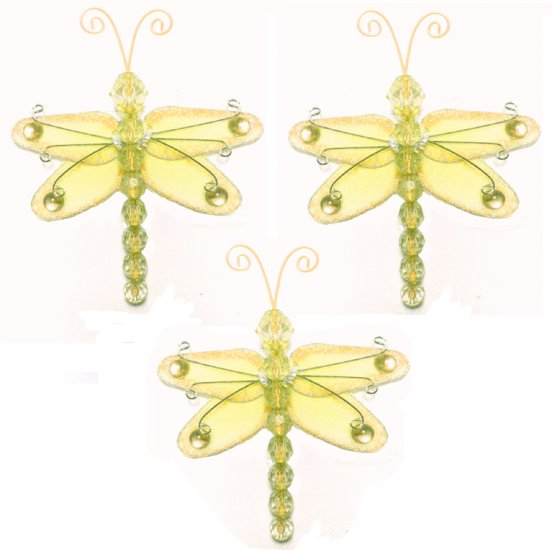 """3"""""""" Yellow Mini Wire Bead Dragonfly Dragonflies 3pc set - nylon hanging ceiling wall nursery bedroom"""