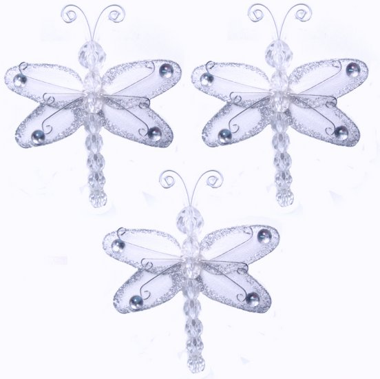 """3"""""""" White Mini Wire Bead Dragonfly Dragonflies 3pc set - nylon hanging ceiling wall nursery bedroom"""
