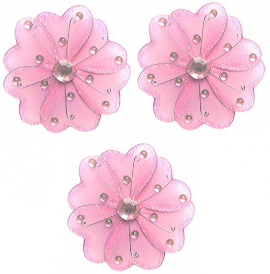 """4"""""""" Pink Mini Wire Daisy Flower Daisies Flowers 3pc set - nylon hanging ceiling wall nursery bedroom"""