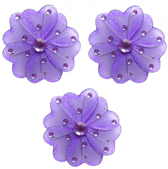 "4"""" Purple Mini Wire Daisy Flower Daisies Flowers 3pc set - nylon hanging ceiling wall nursery bedro"