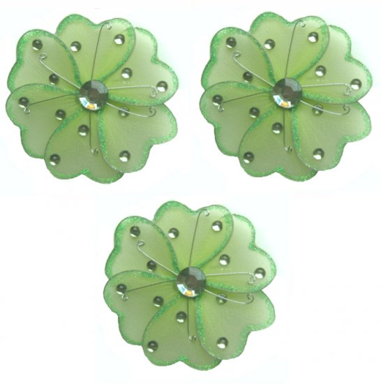 """4"""""""" Green Mini Wire Daisy Flower Daisies Flowers 3pc set - nylon hanging ceiling wall nursery bedroo"""