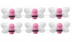 "2"""" Pink Mini Smiling Bumble Bees 6pc set - nylon hanging ceiling wall nursery bedroom decor decorat"