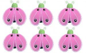 "2"""" Green Pink Mini Shimmer Ladybugs 6pc set - nylon hanging ceiling wall nursery bedroom decor deco"