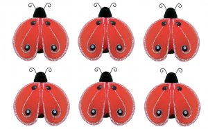 "2"""" Red Black Mini Shimmer Ladybugs 6pc set - nylon hanging ceiling wall nursery bedroom decor decor"