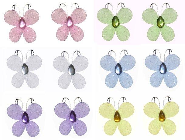 """1"""""""" Pink Purple Yellow Blue Green White Mini Glitter Butterfly Butterflies 12pc set - nylon nursery"""