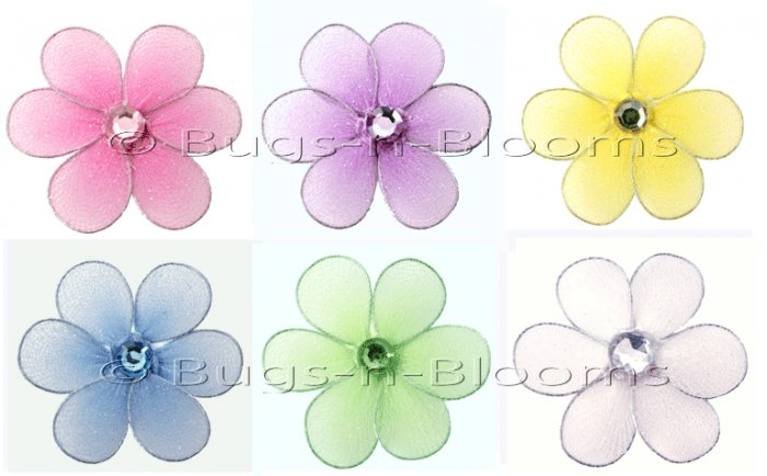 "2"""" Assorted Mini Daisy Flower Daisies Flowers 6pc set - nylon hanging ceiling wall nursery bedroom"