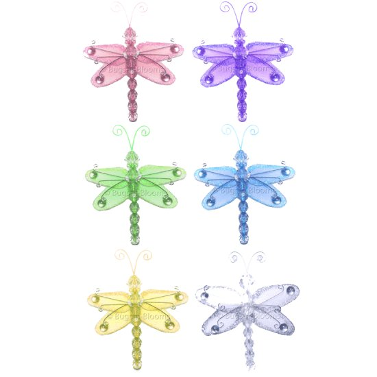 """3"""""""" Assorted Mini Wire Bead Dragonfly Dragonflies 6pc set - nylon hanging ceiling wall nursery bedro"""