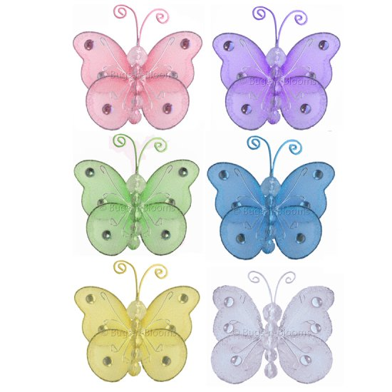 "3"""" Assorted Mini Wire Bead Butterfly Butterflies 6pc set - nylon hanging ceiling wall nursery bedro"