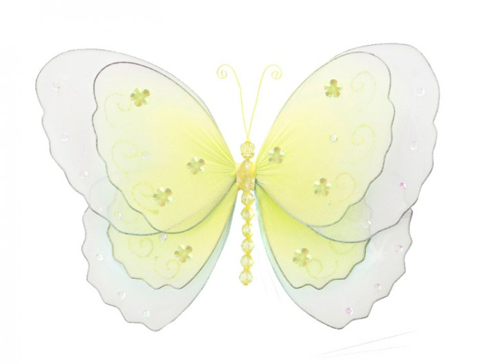 "5"""" Yellow Multi-Layered Butterfly - nylon hanging ceiling wall nursery bedroom decor decoration dec"