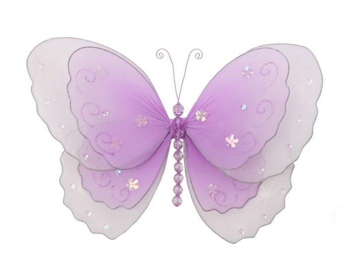 "5"""" Purple Multi-Layered Butterfly - nylon hanging ceiling wall nursery bedroom decor decoration dec"
