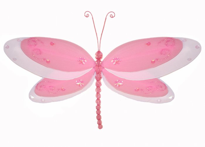 "10"""" Dark Pink (Fuschia) Multi-Layered Dragonfly - nylon hanging ceiling wall nursery bedroom decor"