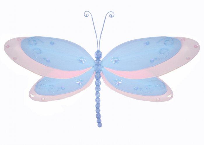 "10"""" Blue Multi-Layered Dragonfly - nylon hanging ceiling wall nursery bedroom decor decoration deco"