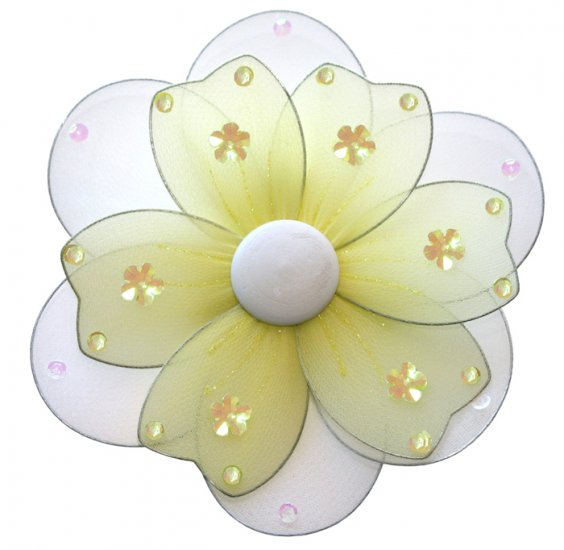 "8"""" Yellow Multi Layered Daisy Flower - nylon hanging ceiling wall nursery bedroom decor decoration"