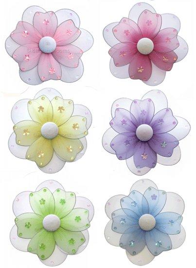 "Lot 8"""" Multi Layered Daisy Flowers 6 piece Set daisies flower - nylon hanging ceiling wall nursery"