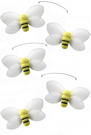 "24"""" Yellow Smiling Bee Mobile - nylon hanging ceiling wall nursery bedroom decor decoration decorat"