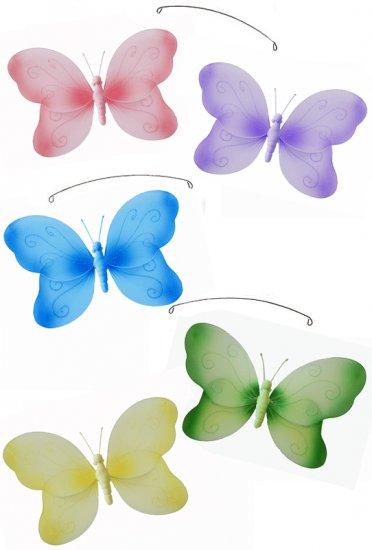 "24"""" Pink Purple Yellow Blue Green Swirl Butterfly Mobile - nylon hanging ceiling wall nursery bedro"