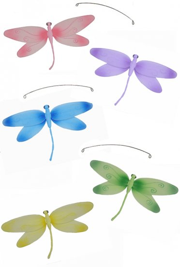 "24"""" Pink Purple Yellow Blue Green Swirl Dragonfly Mobile - nylon hanging ceiling wall nursery bedro"