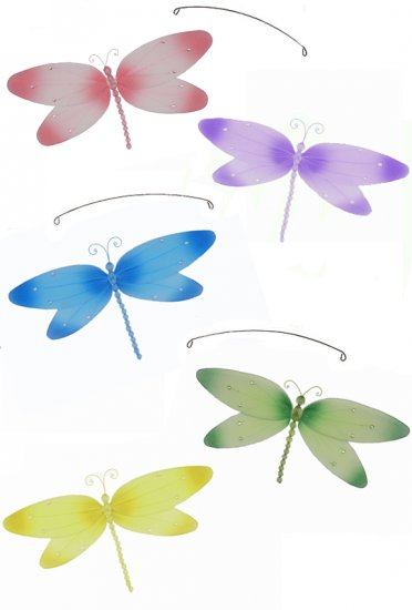 """24"""""""" Pink Purple Yellow Blue Green Crystal Dragonfly Mobile - nylon hanging ceiling wall nursery bed"""