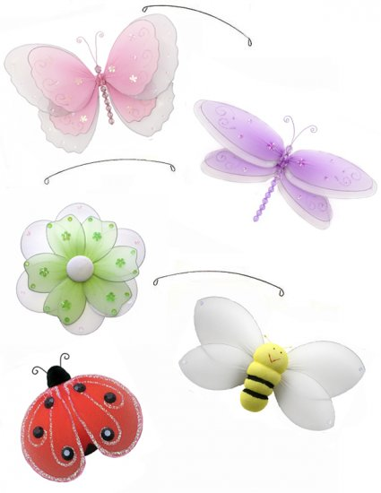 """24"""""""" Multi Layered Butterfly Dragonfly Ladybug Flower Bee Mobile - nylon hanging ceiling wall nurser"""