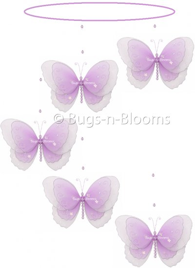 "24"""" Purple Multi Layered Spiral Butterfly Mobile - nylon hanging ceiling wall nursery bedroom decor"