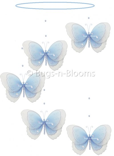 """24"""""""" Blue Multi Layered Spiral Butterfly Mobile - nylon hanging ceiling wall nursery bedroom decor d"""