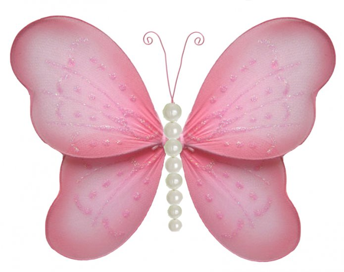 "10"""" Pink Pearl Butterfly - nylon hanging ceiling wall nursery bedroom decor decoration decorations"