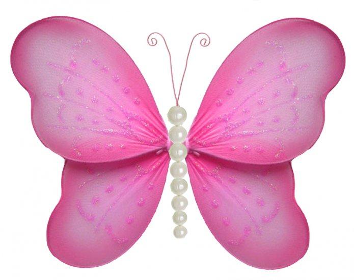 "5"""" Dark Pink (Fuschia) Pearl Butterfly - nylon hanging ceiling wall nursery bedroom decor decoratio"