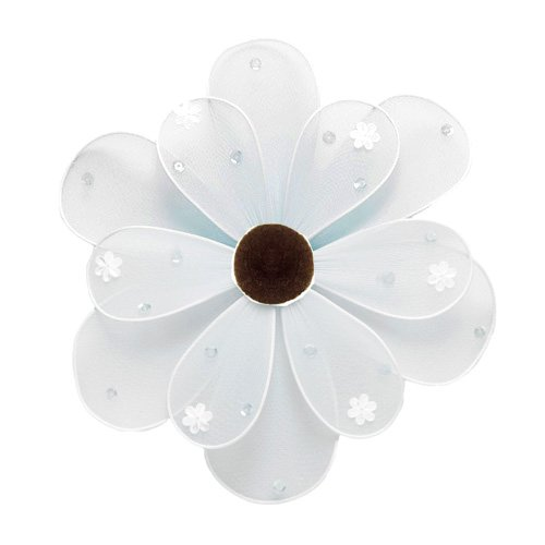 "10"""" White Sequined Daisy Flower - nylon hanging ceiling wall nursery bedroom decor decoration decor"