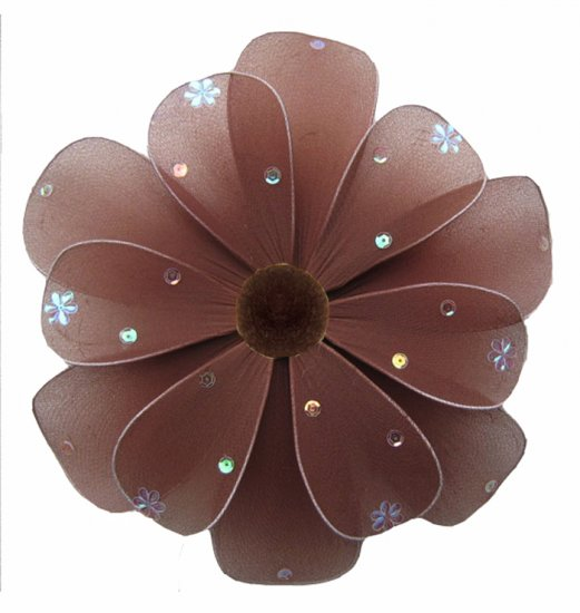 "10"""" Brown Sequined Daisy Flower - nylon hanging ceiling wall nursery bedroom decor decoration decor"