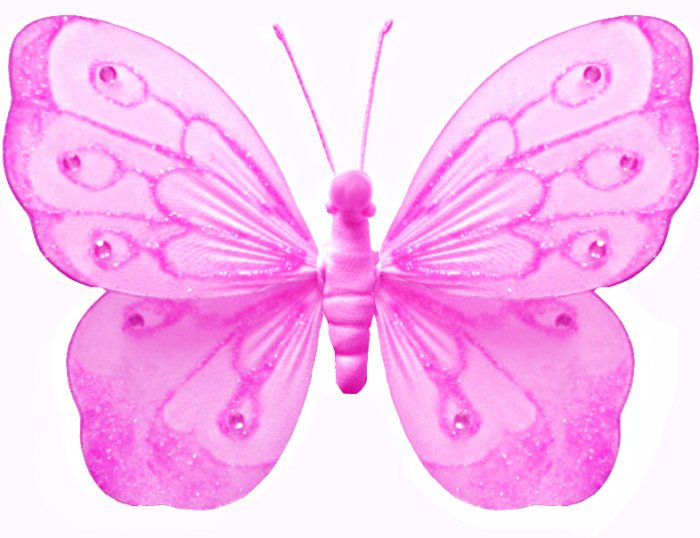 "18"""" Dark Pink (Fuschia) Shimmer Butterfly - nylon hanging ceiling wall nursery bedroom decor decora"