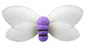 "13"""" Purple Smiling Bumble Bee - nylon hanging ceiling wall nursery bedroom decor decoration decorat"