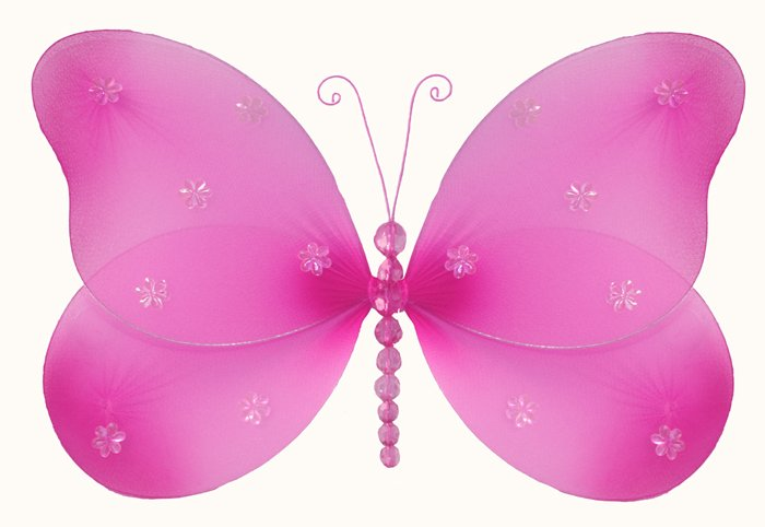 "10"""" Dark Pink (Fuschia) Sparkle Butterfly - nylon hanging ceiling wall nursery bedroom decor decora"