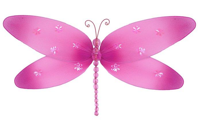 "7"""" Dark Pink (Fuschia) Sparkle Dragonfly - nylon hanging ceiling wall nursery bedroom decor decorat"