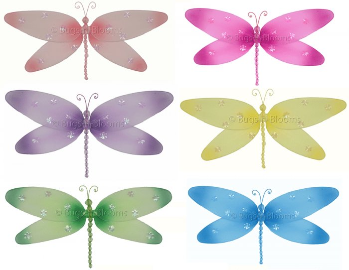 """10"""""""" Lot Sparkle Dragonflies 6 piece Set dragonfly  - nylon hanging ceiling wall nursery bedroom dec"""