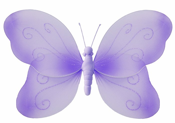 "7"""" Purple Swirl Glitter Butterfly - nylon hanging ceiling wall nursery bedroom decor decoration dec"