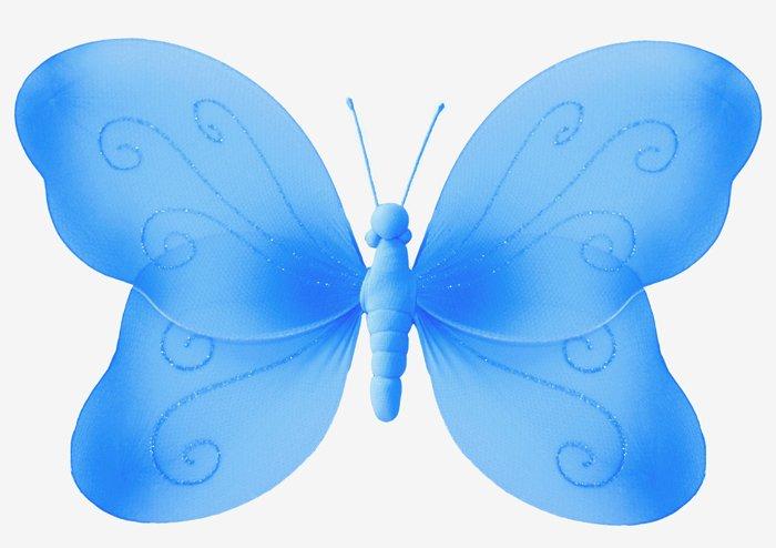 "7"""" Blue Swirl Glitter Butterfly - nylon hanging ceiling wall nursery bedroom decor decoration decor"