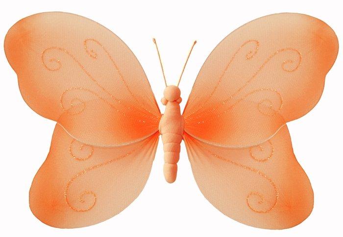 "7"""" Orange Swirl Glitter Butterfly - nylon hanging ceiling wall nursery bedroom decor decoration dec"
