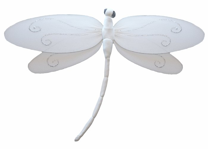 "7"""" White Swirl Dragonfly - nylon hanging ceiling wall nursery bedroom decor decoration decorations"