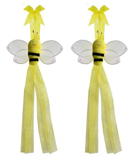 Yellow Smiling Bumble Bee Curtain Tieback Pair / Set - holder tiebacks tie backs nursery bedroom dec