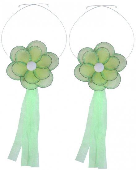 Green Glitter Daisy Flower Curtain Tieback Pair / Set - holder tiebacks tie backs nursery bedroom de