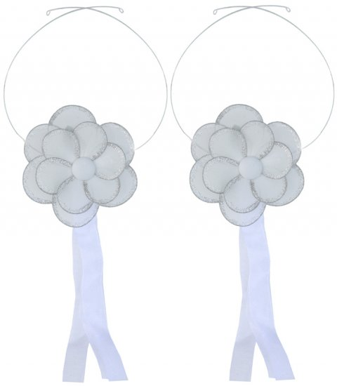 White Glitter Daisy Flower Curtain Tieback Pair / Set - holder tiebacks tie backs nursery bedroom de