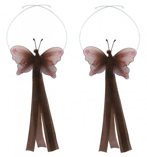 Brown Jewel Butterfly Curtain Tieback Pair / Set - holder tiebacks tie backs nursery bedroom decor d